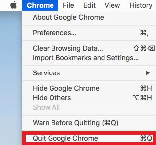 quit google chrome