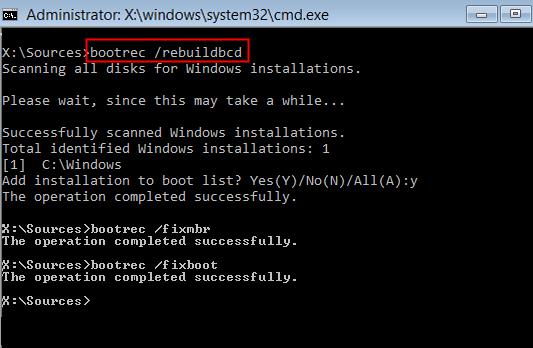 rebuild bcd to fix error 0xc000000f