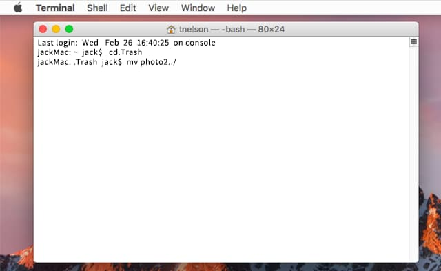recover deleted files from emptied trash via terminal