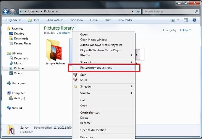 recover deleted photos from file history