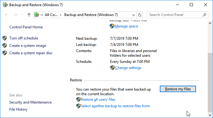 recover permanently deleted files windows 10 - restore files from windows backup