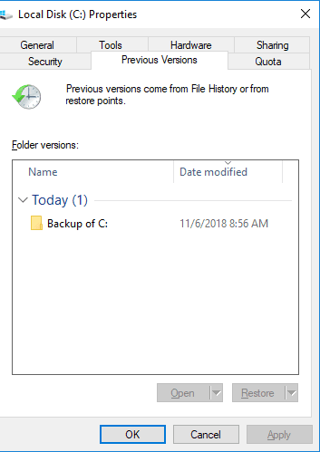 restore virus infected files from previous versions