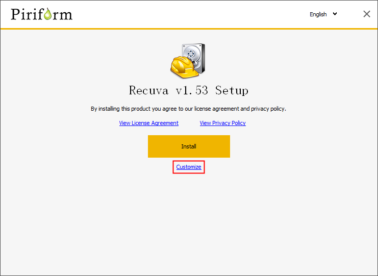 customize the install location of recuva step 1