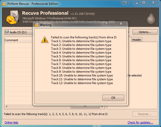recuva unable to determine file system type
