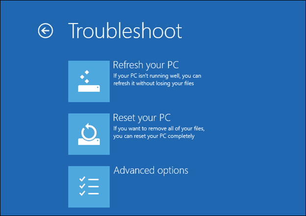 refresh or reset your pc