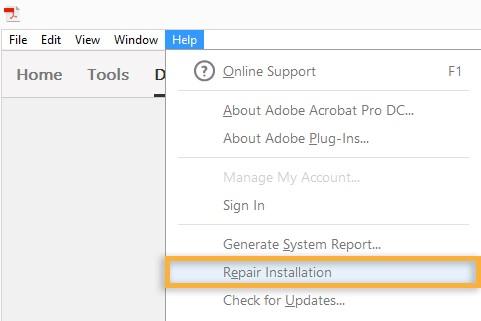 repair Adobe Acrobat Reader