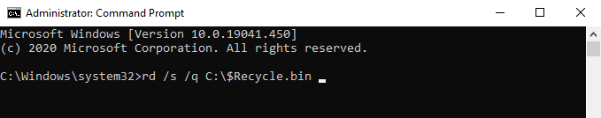 reset recycle bin using command prompt