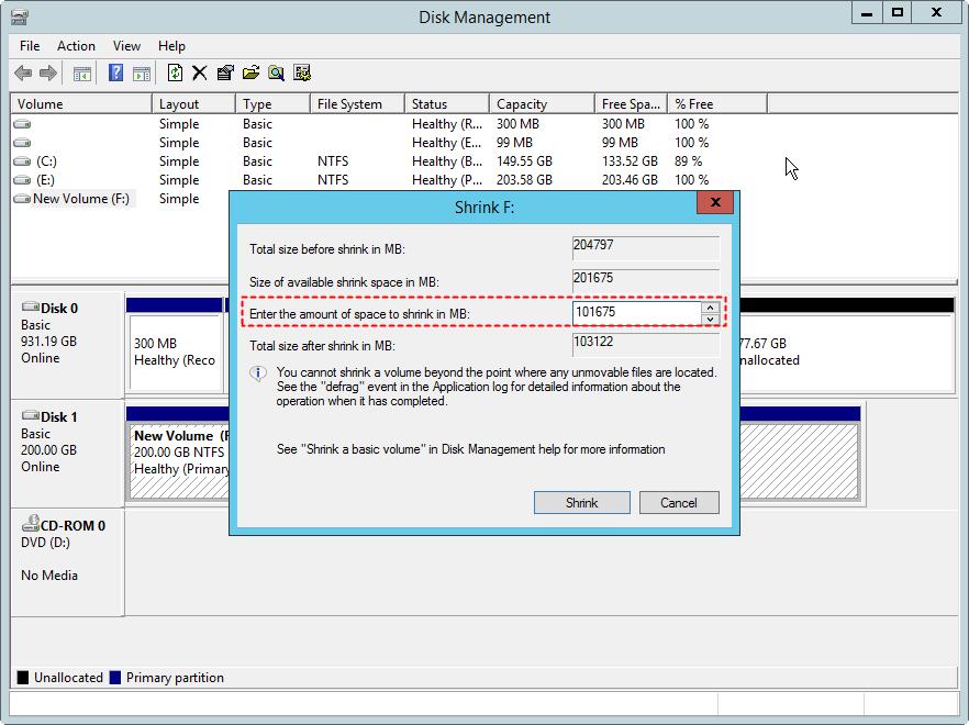 resize partition Disk Management