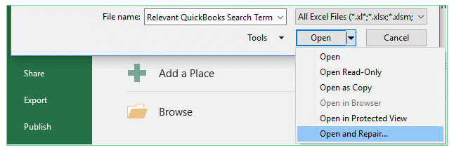 open and repair excel
