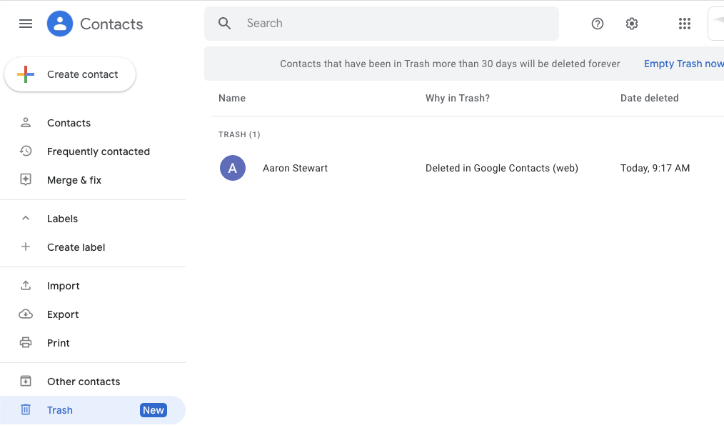 restore deleted google contacts from trash