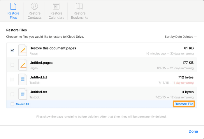 restore files from icloud