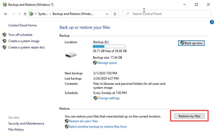 restore my files