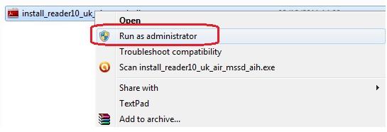 run Adobe Reader as Administrator