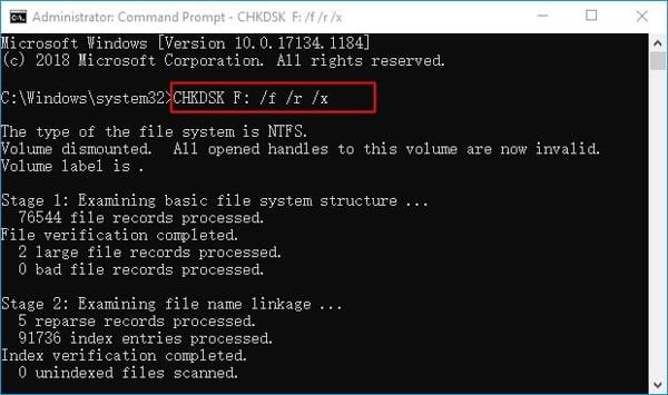 run check disk command