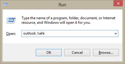 Run Outlook in safe mode