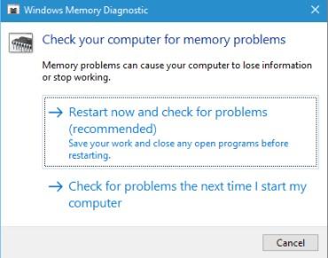 run windows memory diagnostic