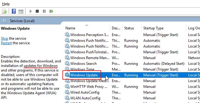 select windows update service