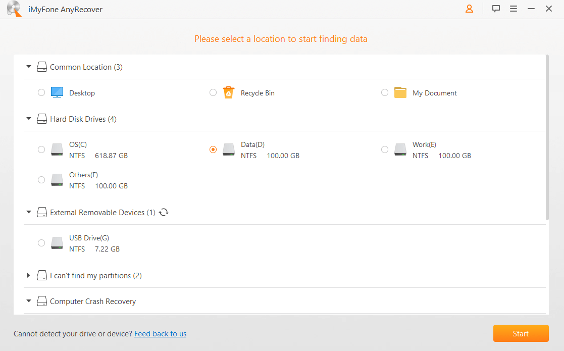 select location with AnyRecover