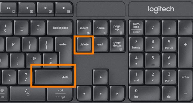 shift and delete key