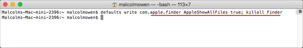 Show hidden files on Mac with terminal