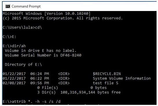 show hidden files using cmd