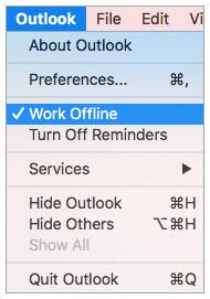 uncheck work offline
