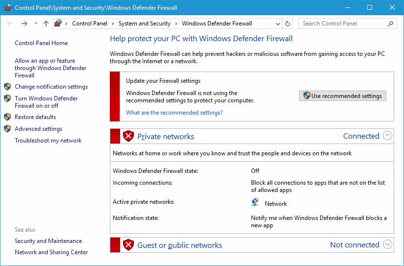 turn on windows defender firewall