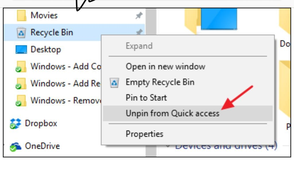 unpin recycle bin from quick access