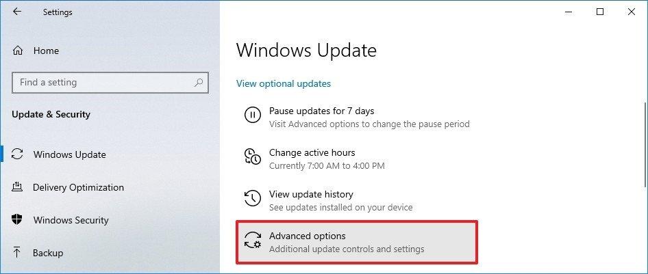 windows 10 update advanced options