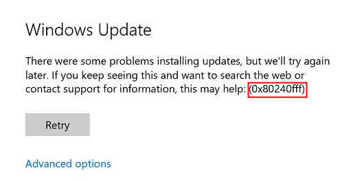 windows error 0x80240fff