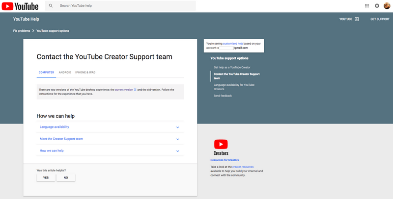 Contect Youtube help support
