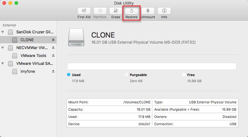 disk utility clone restore