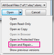 Repair Corrupted Excel Files with Open and Repair Tool