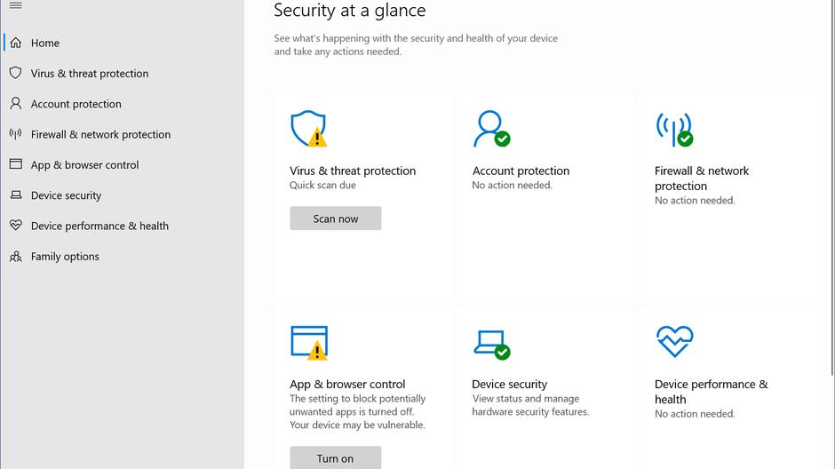 check the antivirus software