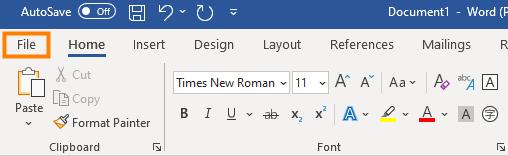 file menu word