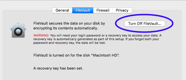 turn off file vault