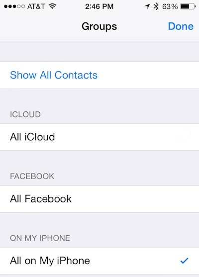 Go To Contacts Groups Settings