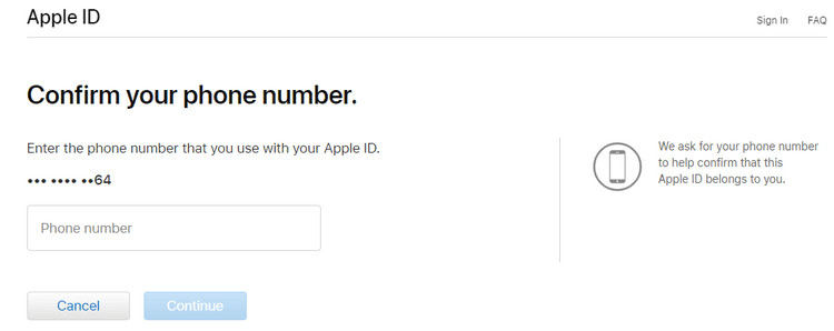 Confirm Apple ID phone number