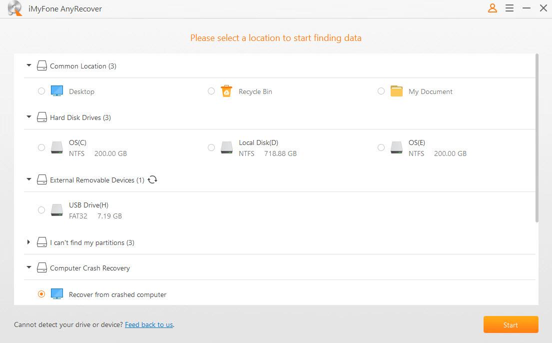 AnyRecover selecionar uma localização para recuperar