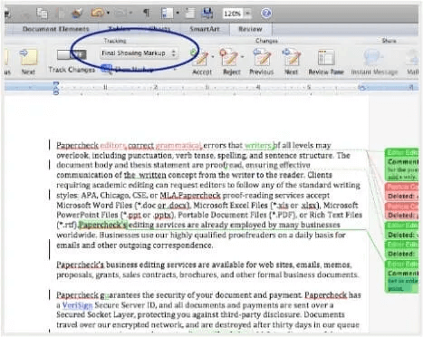 Word final showing markup