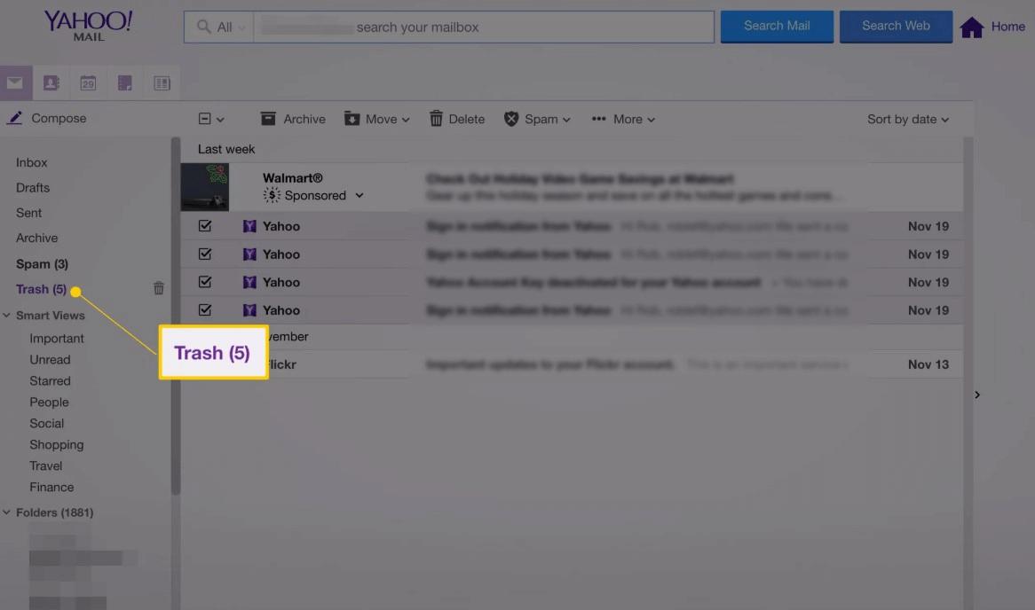 Lixeira do Mail Yahoo