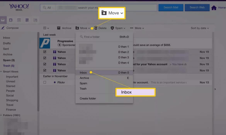Mover e entrada no Mail Yahoo