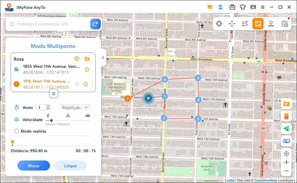 plan virtual route to move along