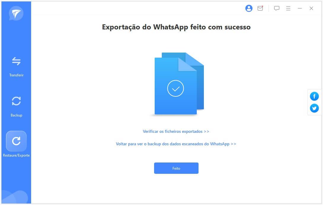 Concluir a exportação do WhatsApp