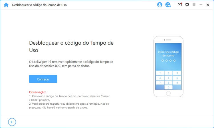 Start to unlock Screen Time Passcode mode