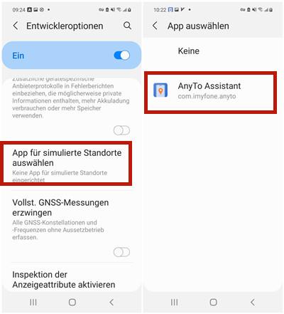 Anyto Assistant für simulierte Standorte auswählen