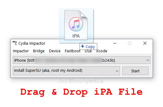 die IPA-Datei in den Cydia Impactor ziehen und ablegen