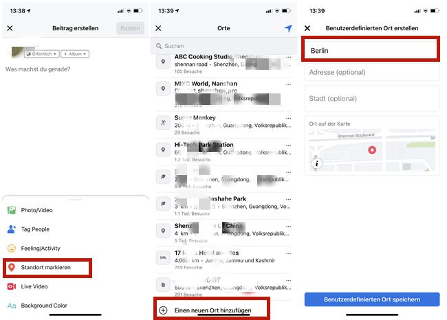 Benutzerdefinierten Ort bei Facebook hinzufügen