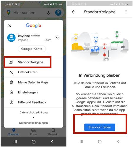 Android Standort freigeben