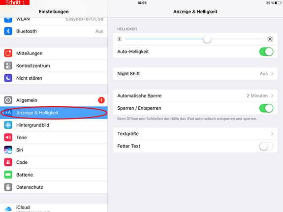 Auto-Helligkeit auf dem iPad deaktivieren